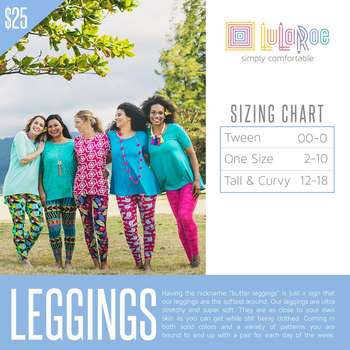 LuLaRoe Collection for Disney Tall and Curvy Leggings (Sizing Chart)
